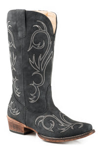 WOMENS FASHION COWBOY BOOT BLACK FAUX LEATHER AND ALL OVER EMBROIDERY