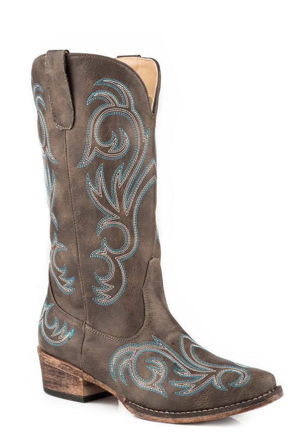 WOMENS FASHION COWBOY BOOT VINTAGE BROWN FAUX LEATHER WITH WESTERN EMBROIDERY