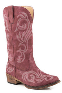 WOMENS FASHION COWBOY BOOT VINTAGE RASPBERRY FAUX LEATHER WITH WESTERN EMBROIDERY
