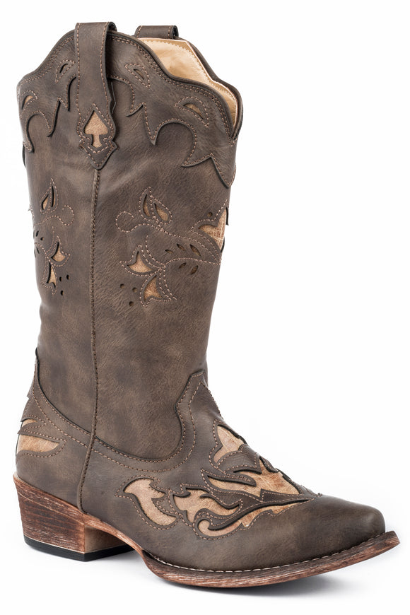 WOMENS FASHION COWBOY BOOT VINTAGE BROWN FAUX LEATHER WITH CUTOUTS AND TAN UNDERLAY