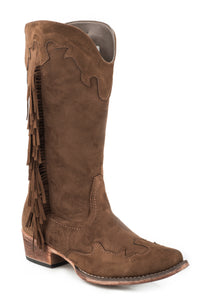WOMENS FASHION COWBOY BOOT BROWN FAUX LEATHER WITH SIDE FRINGE AND WING TIP AND CROWN OVERLAY