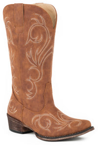 WOMENS FASHION COWBOY BOOT COGNAC FAUX LEATHER WITH ALL OVER EMBROIDERY