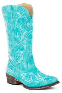 WOMENS FASHION COWBOY BOOT TURQUOISE FAUX LEATHER WITH ALL OVER EMBROIDERY