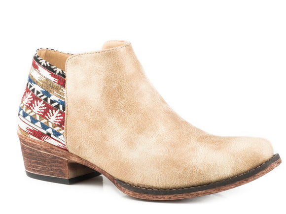 WOMENS FASHION ANKLE BOOT TAN FAUX LEATHER VAMP WITH SERAPE HEEL AND INSIDE ZIPPER