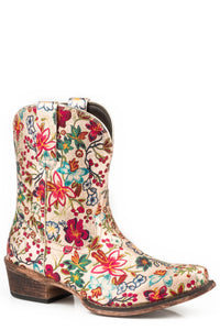 WOMENS FASHION SHORTY BOOT GOLD FLORAL PRINT FAUX LEATHER