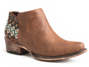 WOMENS SNIP TOE BROWN VAMP AZTEC HEEL