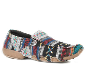 WOMENS DRIVING MOC MULTI SOUTHWEST COLOR FABRIC WITH FABRIC WRAPPED SOLE