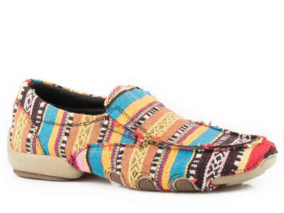 WOMENS DRIVING MOC MULTI COLOR SOUTHWEST STRIPE FABRIC