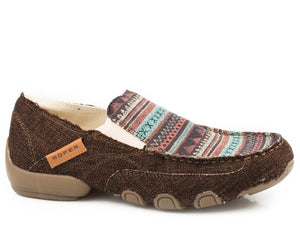 WOMENS DRIVING MOC BROWN WITH AZTEX VAMP ON WRAPPED BOTTOM