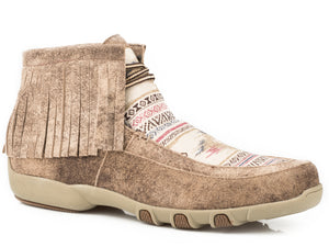 WOMENS ANKLE DRIVING MOCASSIN TAN LEATHER WITH MULTI COLORED FABRIC AZTEC VAMP 2 EYELET LACE UP