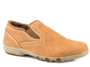 WOMENS DRIVING MOCASSIN SLIP ON ALL OVER OILED TAN LEATHER