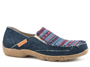 WOMENS DRIVING MOCASSIN SLIP ON BLUE CANVAS WITH MULTI COLORED VAMP