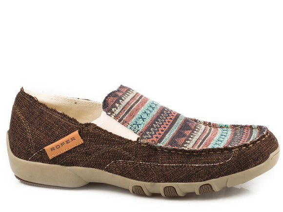 WOMENS DRIVING MOCASSIN SLIP ON BROWN CANVAS WITH SOUTHWEST TAN STRIPES ON VAMP