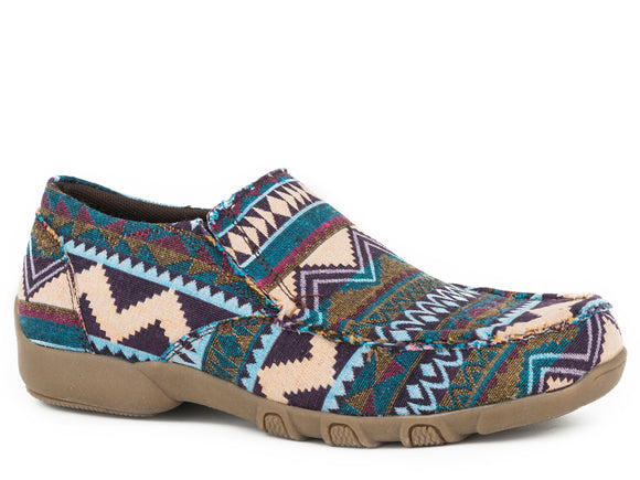WOMENS DRIVING MOCASSIN SLIP ON BLUE MULTI COLOR AZTEC FABRIC PATTERN