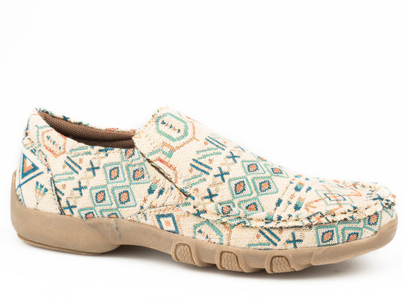WOMENS BEIGE AND BLUE MULTI COLOR AZTEC