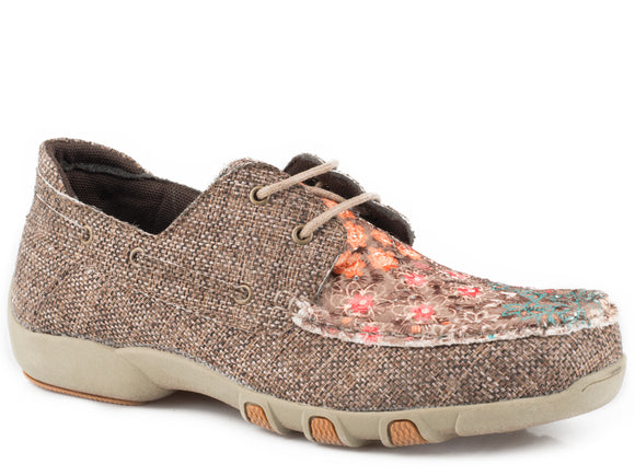 WOMENS DRIVING MOCASSIN BOAT SHOE BROWN TWEED WITH FABRIC SERAPE VAMP 2 EYELET LACES