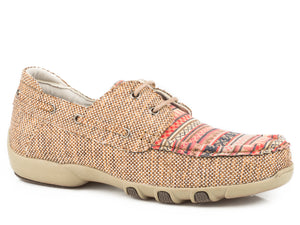 WOMENS DRIVING MOCASSIN BOAT SHOE TAN CANVAS WITH FABRIC SERAPE VAMP 2 EYELET LACES