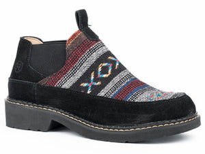 WOMENS CASUAL SLIP ON BLACK SUEDE LEATHER WITH AZTEC FABRIC VAMP