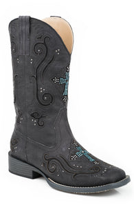 WOMENS COWBOY BOOT VINTAGE BLACK FAUX LEATHER WITH CRYSTAL AND CROSS UNDERLAY DESIGN