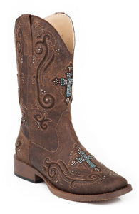 WOMENS COWBOY BOOT VINTAGE BROWN FAUX LEATHER WITH CRYSTAL AND CROSS UNDERLAY DESIGN