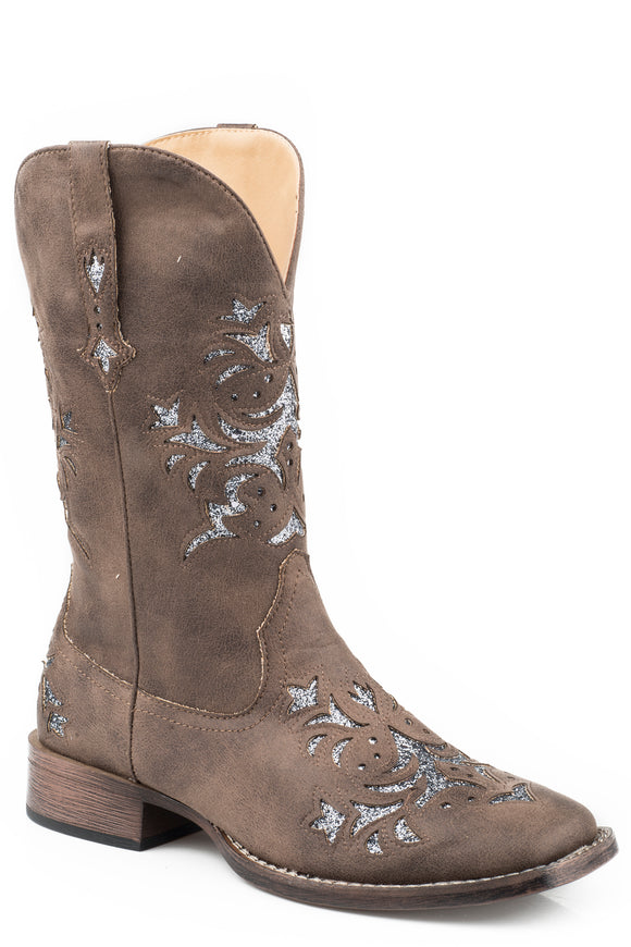 WOMENS COWBOY BOOT BROWN FAUX LEATHER WITH METALLIC SILVER UNDERLAY