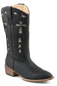 WOMENS COWBOY BOOT VINTAGE BLACK FAUX LEATHER WITH GLITTER UNDERLAY DESIGN