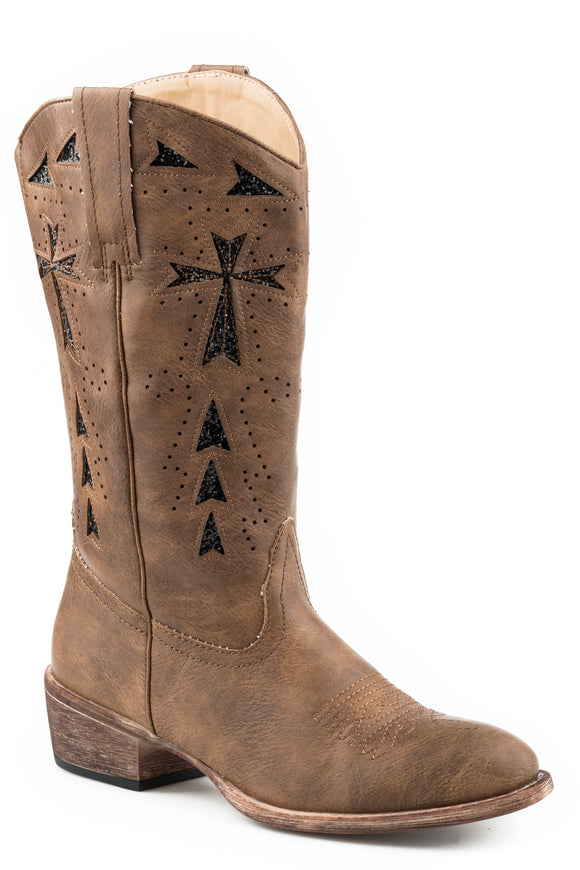 WOMENS COWBOY BOOT VINTAGE TAN FAUX LEATHER WITH GLITTER UNDERLAY DESIGN
