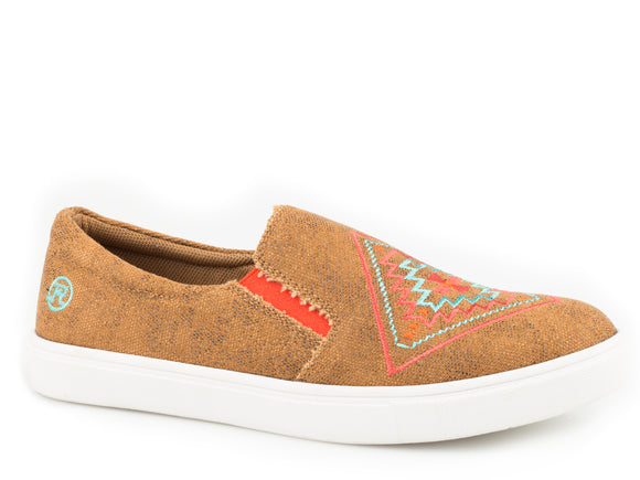 WOMENS ATHLETIC SNEAKER SLIP ON TAN CANVAS WITH AZTEC EMBROIDERED VAMP