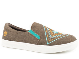 WOMENS ATHLETIC SNEAKER SLIP ON BROWN CANVAS WITH AZTEC EMBROIDERED VAMP
