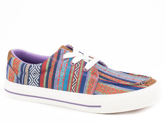 WOMENS MULTI PURPLE AZTEC CANVAS UPPER