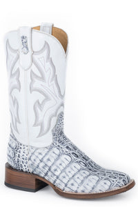 WOMENS WHITE AND GREY CAIMAN VAMP
