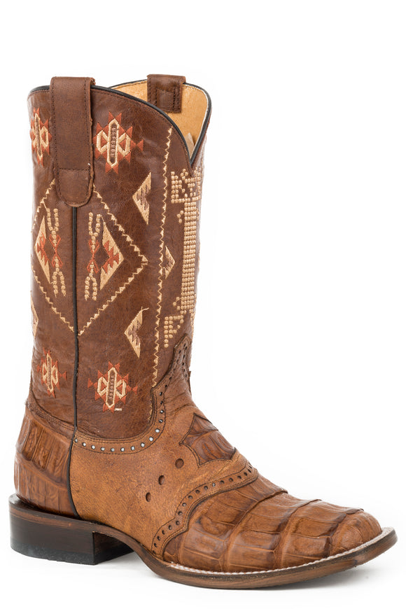 WOMENS COWBOY BOOT TAN BELLY TAIL CAIMAN SADDLE VAMP  WITH GOAT UPPER