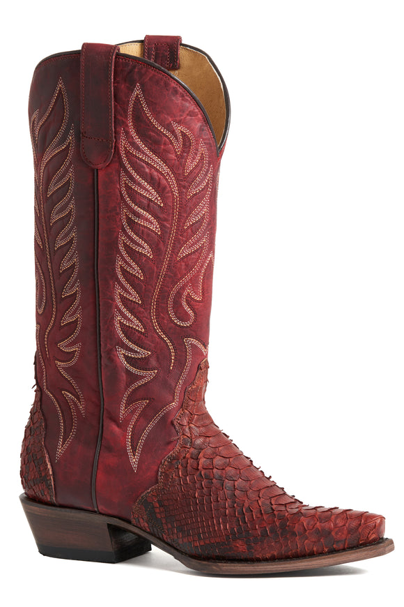 WOMENS EXOTIC LEATHER OILED BURGUNDY PYTHON VAMP WAXED BURGUNDY UPPER