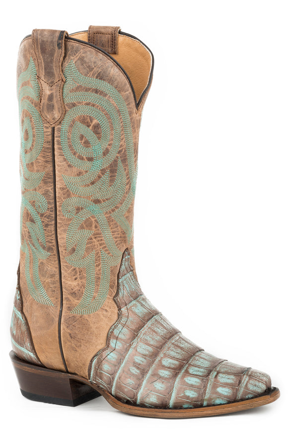 WOMENS COPPER AND TURQUOISE CAIMAN WITH SADDLE