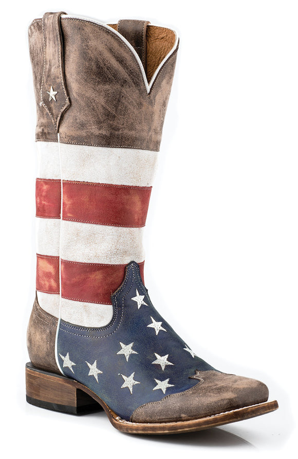WOMENS AMERICAN FLAG LEATHER TEXAS STAR COWBOY BOOT DISTRESSED BROWN RED WHITE AND BLUE