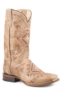 WOMENS LEATHER COWBOY BOOT WAXY TAN WITH ALL OVER NATIVE EMBROIDERY