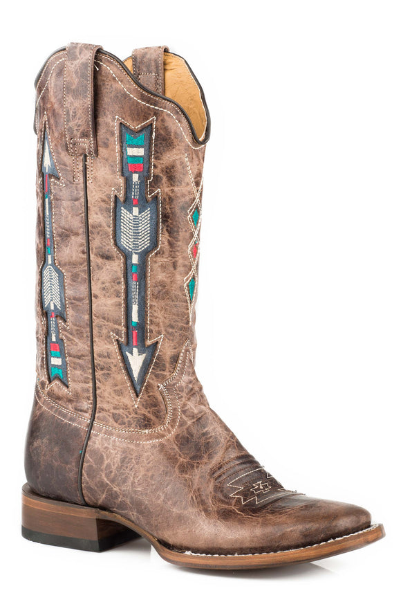 WOMENS LEATHER COWBOY BOOT WAXY BROWN WITH EMBROIDERED ARROW UNDERLAY DESIGN