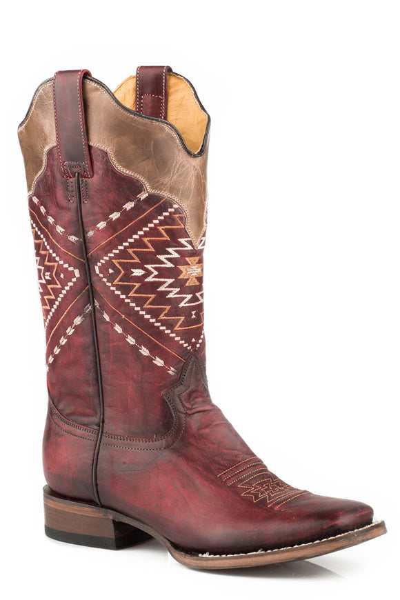 WOMENS LEATHER COWBOY BOOT BURNISHED BURGUNDY WITH AZTEC EMBROIDERED DESIGN