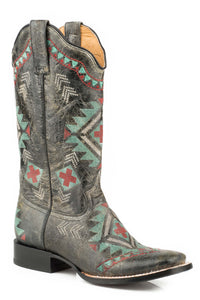 WOMENS LEATHER COWBOY BOOT WAXY BLACK WITH SOUTHWEST EMBROIDERED DESIGN