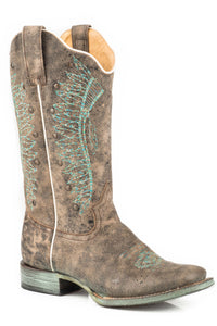 WOMENS LEATHER COWBOY BOOT VINTAGE BROWN WITH INDIAN HEAD DRESS EMBROIDERY AND STUDS