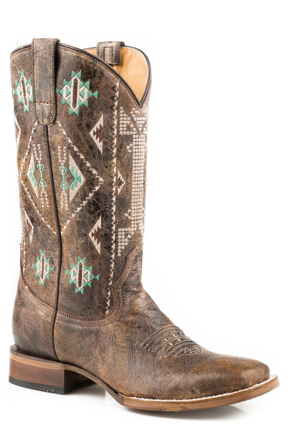 WOMENS LEATHER COWBOY BOOT WAXY BROWN WITH EMBROIDERED AZTEC DESIGN