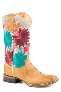 WOMENS LEATHER COWBOY BURNISHED TAN VAMP WITH FLOWER EMBROIDERY OVER WHITE UPPER