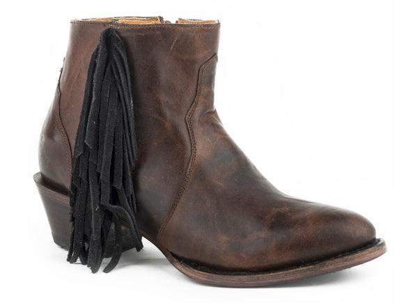 WOMENS LEATHER ANKLE BOOT BURNISHED BROWN WITH BLACK SUEDE SIDE FRINGE