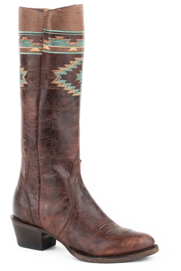 WOMENS LEATHER FASHION BOOT MABLED BROWN WITH NATIVE EMBROIDERY