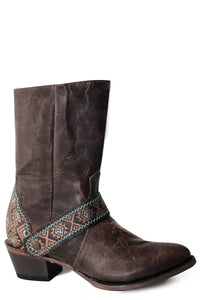 WOMENS FASHION BOOT OILED BROWN LEATHER VAMP AND UPPER WITH NATIVE EMBROIDERED HARNESS AND HEEL COUNTER
