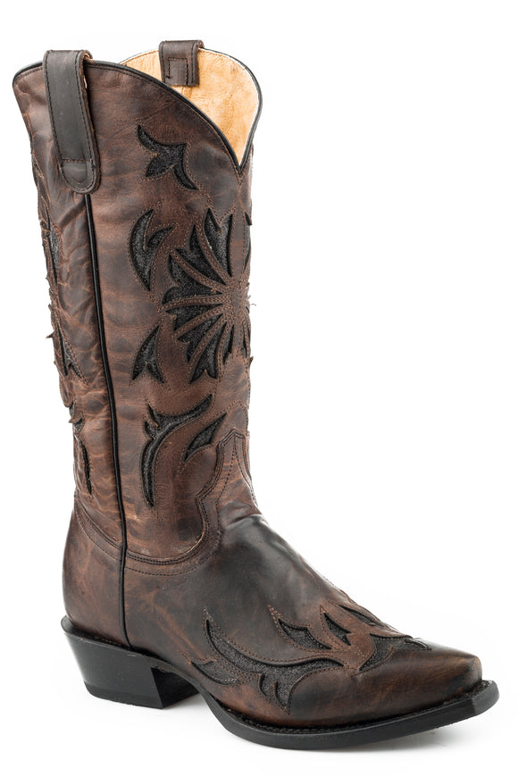 WOMENS LEATHER COWBOY BOOT BURNISHED BROWN WITH BLACK GLITTER INLAY