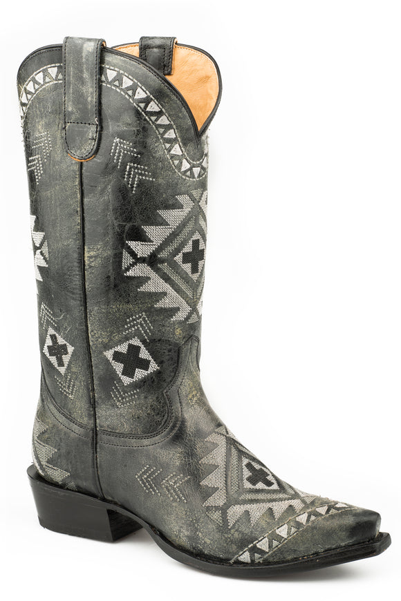 WOMENS LEATHER COWBOY BOOT VINTAGE BLACK WITH ALL OVER NATIVE EMBROIDERY