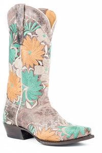 WOMENS LEATHER COWBOY BOOT VINTAGE BROWN WITH ALL OVER FLORAL EMBROIDERY