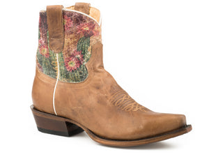 WOMENS LEATHER SHORTY BOOT WAXY TAN WITH PRINTED CACTUS DESIGN ON UPPER