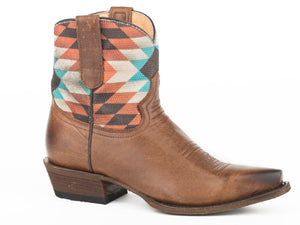 WOMENS SHORTY BOOT WAXY BROWN VAMP WITH SOUTHWEST TEXTILE UPPER